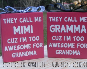 Too awesome for Grandma Block - Block Decor - Home Decor - Grandmother Gift - Mothers Day Gift