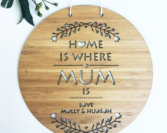 Home Is Where Mum Is Wall Hanging (personalised)