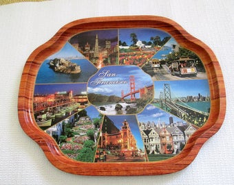 tin tray San Francisco Souvenir tray vintage  in tin with 9 memorable photos colorful retro decor piece bar decor and more