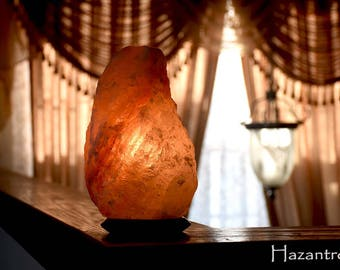 Hazantree Himalayan Salt lamp, 100% Natural 4 to 6 lbs Small salt rock lamp, Ionizer Lamp, Flat Shipping with UL certified dimmer cord