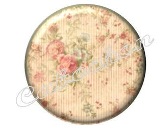 2 cabochons 18mm glass, Valentine's day, flowers