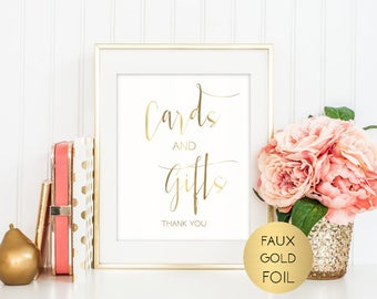SALE Gold Cards and Gifts Wedding Sign, Printable Wedding Sign, Table Reception Sign, Typography Sign, Instant Download, Digital sign,