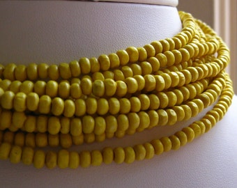Small 3mm by 4mm Rondelle Wooden Spacer Beads in Sunshine Yellow 8 inches (20cm)