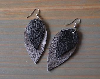 Black and Silver Layered Teardrop Scrap Vegan Leather Earrings