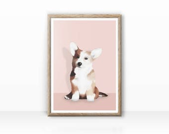 Corgi illustration, dog portrait, digital version available
