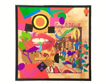 Vinyl Record Cover Collage Art Original Mixed Media Home Decor Framed Wall Art Vintage Music Upcycled Materials Bright Neon Paper Assemblage