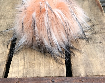 Just Peachy Luxury Faux Fur Pom Poms Handmade Vegan Cruely Free for Toques Beanies Hats