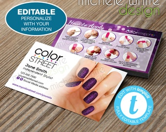 """Color Street Business Cards 2""""x3.5"""", Application, Ibiza Nights, Editable Template, PRINTABLE Digital File, Templett, Instant Access"""