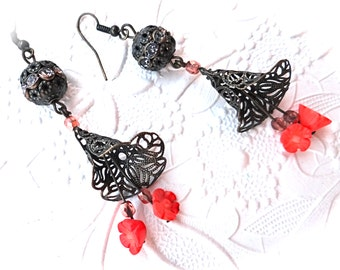 Victorian Coral Earrings Renaissance Jewelry Dangle Earrings N-118