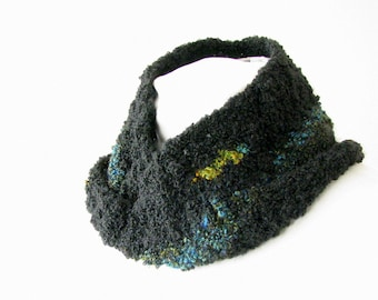 Black Boucle Infinity Scarf - Hand Crocheted Loop Scarf with Turquoise Stripe, Adult, Unisex