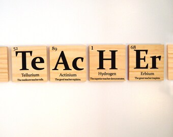 Periodic table gifts etsy teacher gift periodic table of elements teacher with inspirational quote wooden tiles urtaz Images