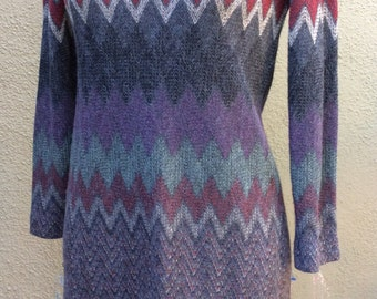 Vintage Tony Ruocco for Alper Schwartz amazing knit dress zig zag long sleeved wonderful yarns gray green purples chevron knitsz m