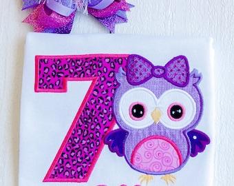 Owl birthday shirt, owl birthday party, hoot birthday, leopard birthday shirt, purple owl