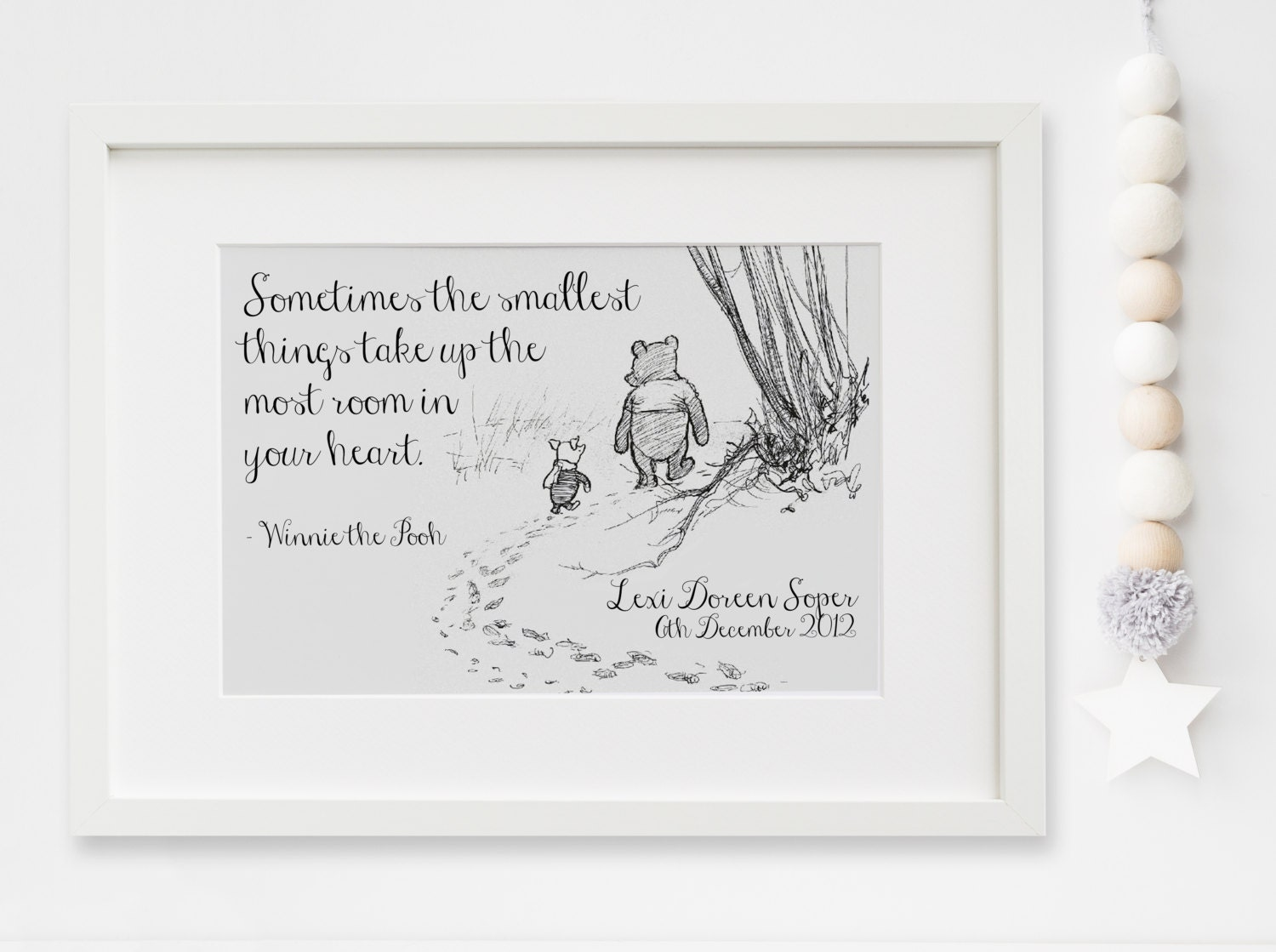Personalised new baby boygirl winnie the pooh quote nursery birth personalised new baby boygirl winnie the pooh quote nursery birth name print keepsake picture christening gift negle Images
