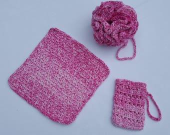 Cotton Crocheted Bath Set-Cotton Loofah-Cotton Washcloth-Cotton soap sack-eco friendly bath set-natural soap sack/saver-scrubby/loofah-cloth