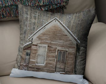 Winter Cabin, Rustic Pillow Case, Log Cabin Throw Pillow, Mountain Living Room Decor, Aspen Trees, Rustic Pillow Case, Mountain Bedroom
