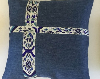 Hand beaded embellished pillow cover