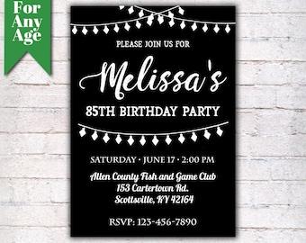 85th birthday invite etsy 85th birthday invitation birthday party invite printable adult invitation black and white filmwisefo Choice Image