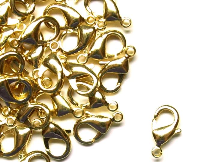 CLOSEOUT - Clasp, Lobster, 12mm, Gold - 100 Pieces (CLBGP-LB12)