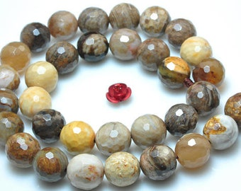 Natural Woodstone Faceted Round Beads 10mm