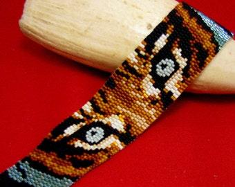 Beadbrickie TIGER INTENSITY 2-Drop Peyote Bracelet Pattern
