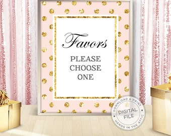 Wedding favors sign, pink and gold polka dots, party decorations, unique wedding signs, wedding reception signs, printable DIGITAL download