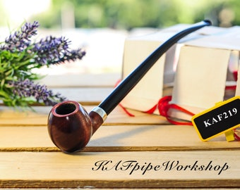 Churchwarden pipe Bilbo pipe Hobbit pipe from Lord of the Rings Tobacco smoking pipe KAF219 Long stem wooden handmade pipe with long pouch
