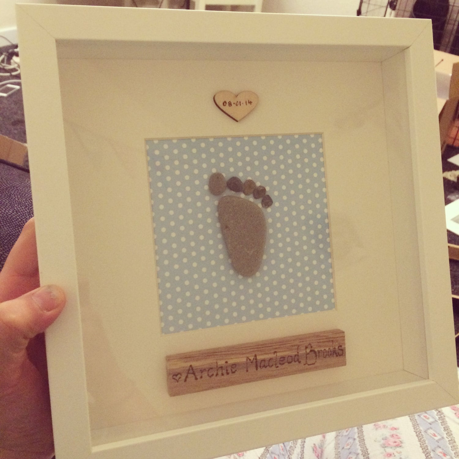 Pebble art personalised baby feet picture framed.