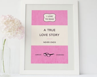 Classic Pink Paperback print - Penguin book style - romantic couples gift