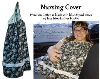 Nursing Cover: Vintage Blue Roses on Charcoal