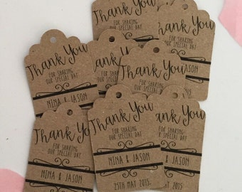 Miniature (4 x 2.5cm) Personalised Wedding Favour Tags (20) Kraft Card *Other colours available on request*