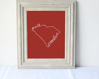 Printable South Carolina State Art Print 8x10 Digital Wall Art Gift