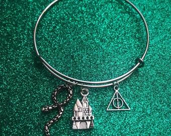 Harry Potter Slytherin inspired Deathly Hallows Adjustable Charm Bracelet