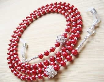 Beaded Eyeglass Chain. Red Spectacles Chain, Reading Glasses Chain with Red and Silver Beads. Sunglasses Chain, UK Handmade