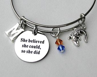 "Stainless Steel Charm Bangle, "" She Believed She Could So She Did "" Charm Bangle, Grad Gift University Florida, Gator Charm , Gators"