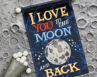 I Love you to the Moon and Back - Space Planet and Solar System wall art decor for boys rooms, playrooms, junior astronomers.