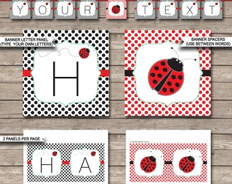 Ladybug Party Banner - Happy Birthday Banner - Custom Banner - Ladybird or Ladybug Party Decorations - INSTANT DOWNLOAD with EDITABLE text