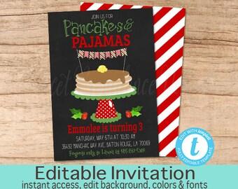 Pancakes and pajamas invitation pink pancake girl birthday christmas pancakes and pajamas invitation pancake pjs birthday pajama party sleepover editable filmwisefo