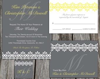 Printable Wedding Invitation Suite Package, Modern Vintage Lace Art Deco & Monogram,  RSVP, MORE Pick Your Colors, DIY Digital Files