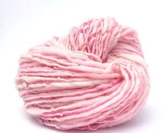Handspun sparkly yarn, 70 yards and 1.3 ounces/37 grams worsted weight, merino, silk and sparkly silver Angelina