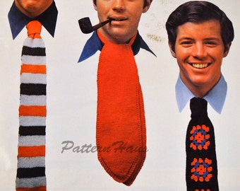 Ties and Ascot Knitting and Crochet Pattern Instant Download