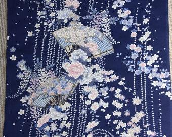 Blue Komon Kimono/Floral/Japanese fan/扇子/ Vintage Kimono silk fabric