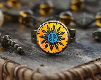Hippie Peace sign ring, Hippie ring, Hippie jewelry, peace ring, peace jewelry, men's Hippie ring