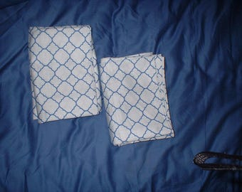 REDUCED 2 Moroccan Standard Pillowcases Charter Club Damask Designs 500 TC GEO Blue and White