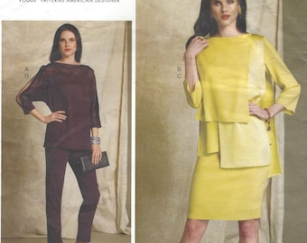 Tom and Linda Platt Batwing or Layered-Overlay Tops, Pencil Skirt & Pants Vogue Sewing Pattern V1516 Size 14 16 18 20 22 Bust 36 to 44 FF