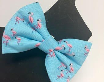 Flamingo Dog Collar Bow Tie - Fun - Bright - Beach - Dog Bow Tie Custom Sizes- Christmas - Holiday - Gift - Collar Accesory