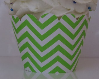 Lime Green Chevron Cupcake Wrappers... Fully Assembled...set of 12.. Baby Shower, Birthday, Bridal Shower