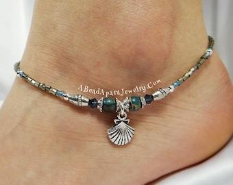 Anklet Ankle Bracelet, Sea Shell Anklet, Blue Anklet, Beach Anklet, Beach Jewelry, Crystal Anklet Jasper Anklet Beaded Anklet Shell Bracelet