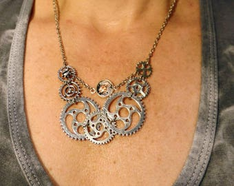 Steampunk Chunky Gear Necklace