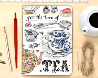Tea Time notebook, blank journal, personalized stationery.